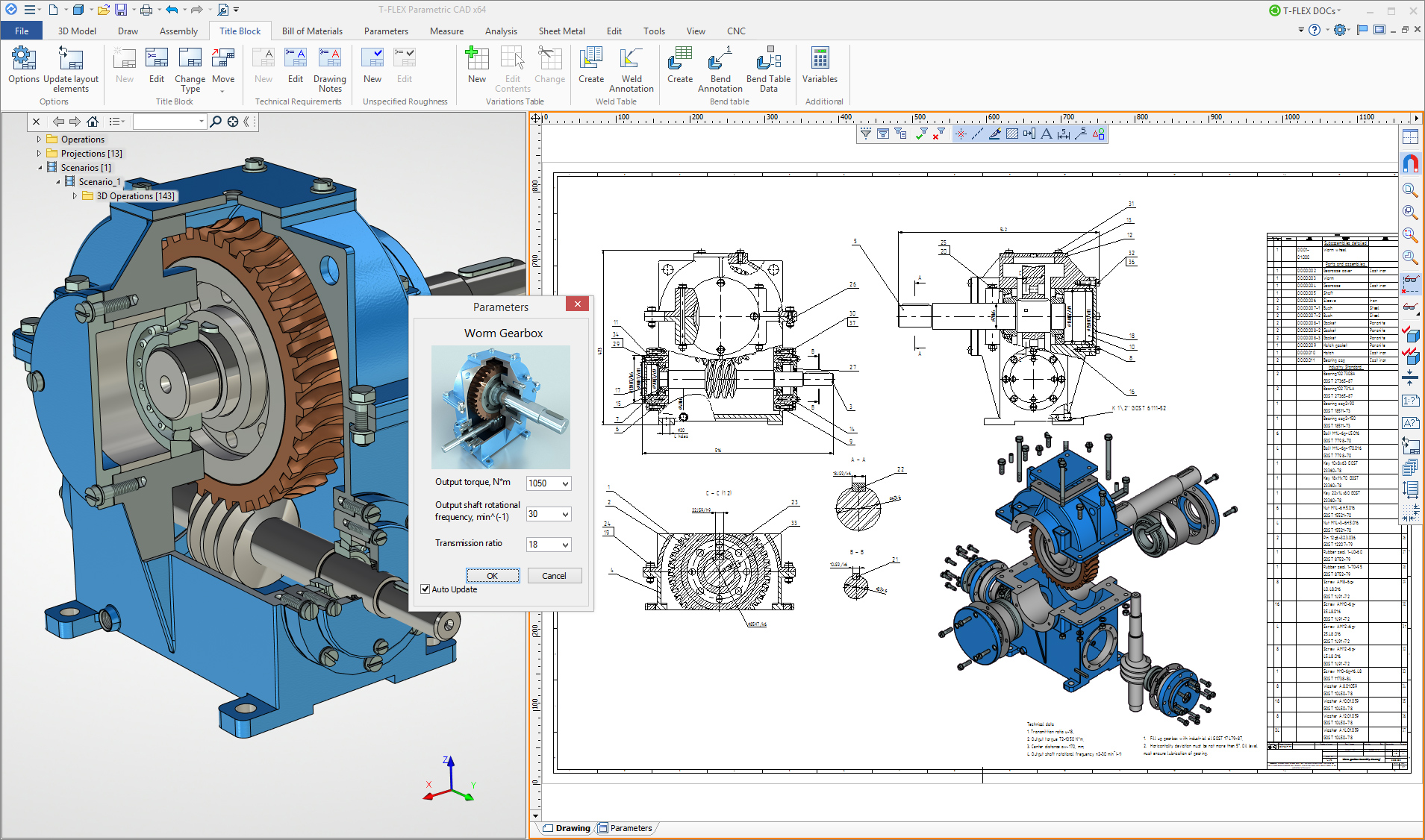 Worm Gearbox Drawing